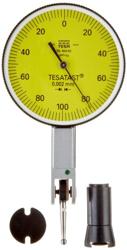 Brown & Sharpe Tesa 18.10010 Tesatast Dial Test Indicator, Top Mounted, M1.4X0.3 Thread, 2Mm Stem Dia., Yellow Dial, 0-100-0 Reading, 38Mm Dial Dia., 0-0.2Mm Range, 0.002Mm Graduation, +/-0.002Mm Accuracy