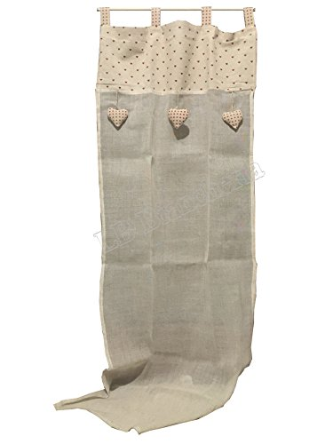 Paire de rideaux Marinette Coeurs-Country provençal Shabby chic tissu et en Lin Coton-60 x 240 Cm
