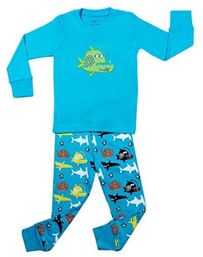 """Elowel Boys """"Whale Fish"""" 2 Piece Pajama Set 100% Cotton - 18-24 Months front-1037968"""