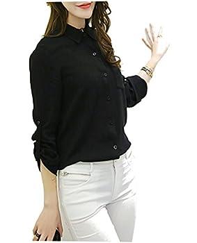 【PALERO・パレロ】 ブラウス とろみシャツ とろみ シャツ レディース レディーズ ガールズ 春 夏 選べる5色 エレガンス 半袖 長袖 ロールアップ ビスコース (M, ブラック)