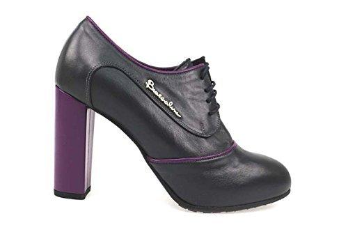 Scarpe donna BRACCIALINI 37 tronchetto grigio / viola pelle AN59-B