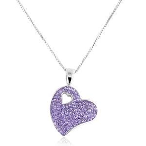 Sterling Silver Violet Swarovski Crystal Heart Pendant