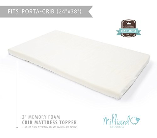 "Milliard 2"" Ventilated Memory Foam Portable-Crib Mattress Topper with Waterproof Cover (24""x38"")"