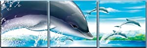 """DOLPHIN Digital Wall Art Print Mounted on Fiberboards/Better than Canvas Print/Ready to Hang 3 panel set (12""""x12""""x0.4""""(each panel)X3Panels)"""