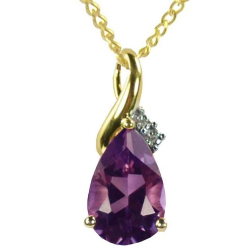 9ct Yellow Gold Diamond Set Large Teardrop Amethyst Pendant with 46cm Curb Chain