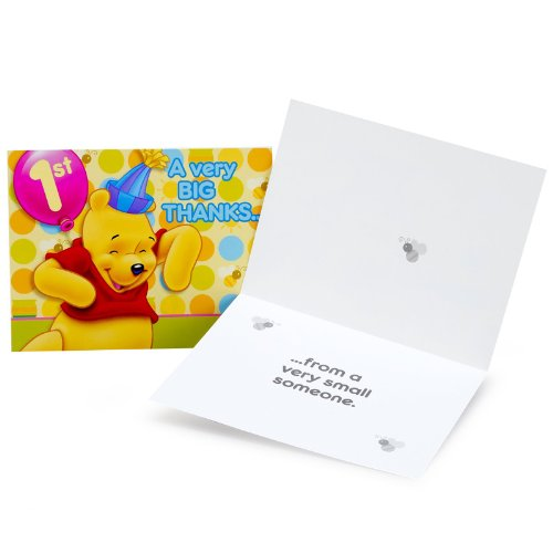 Winnie the Pooh Balloon 1st Birthday Thank You Notes w/ Envelopes (8ct) - 1