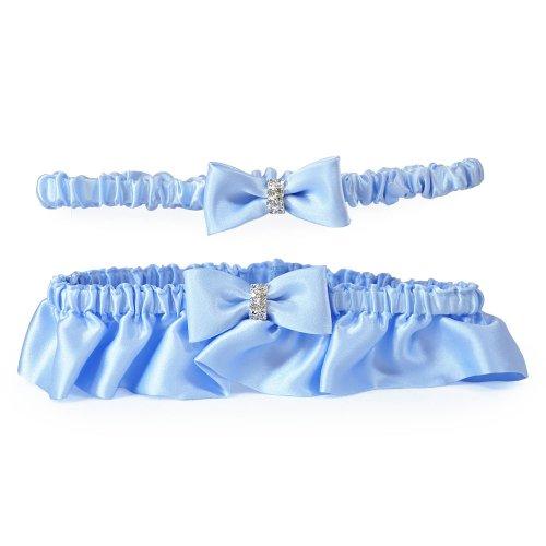 Cathy's Concepts Silk Wedding Garter with Rhinestones, Blue