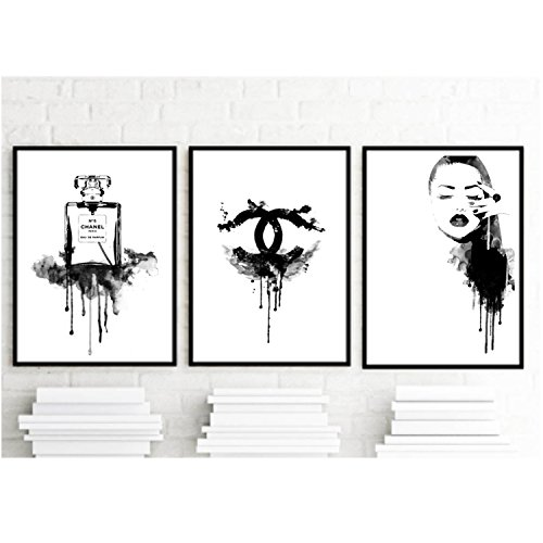 Set of 3 art prints coco chanel inspirational for Black and white wall art