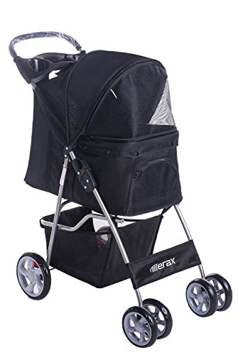 Merax Black Four Wheels Folding Pet Stroller Travel Carrier (Classic Black)