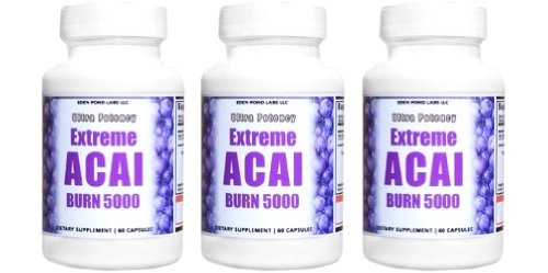 Extreme Acai Burn 5000, 100% Pure, 5 Times More Potent Acai Berry Natural Nutrition, Energy and Weight Loss Detox Diet 3 Bottles, 3 Months , 180 Capsules