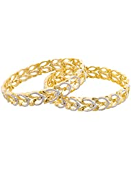 Arnav Creations Silver And Gold Metal Bangle Set For Women - Set Of 2 (Size: 2.6, ACB0026)