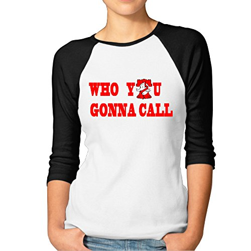 [Hotgirl4 Women Ghostbusters Raglan 3/4 Sleeve T-Shirt Color Black XL] (Cute Slimer Costumes)