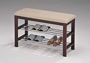 Click Here For all right Size Kings Brand Walnut / Beige Vinyl With Chrome Shoe Rack Organizer & Bench