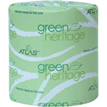 "Green Heritage 248 Bathroom Tissue, 2-Ply, White,  4.1"" Length x 3.1"" Width, 400 Sheets (Case of 96)"