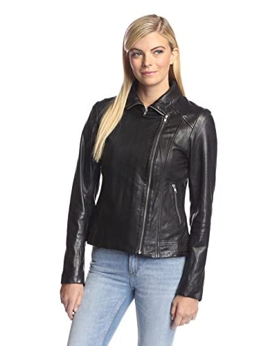 Soia & Kyo Women's Fitted Leather Jacket with Open Collar