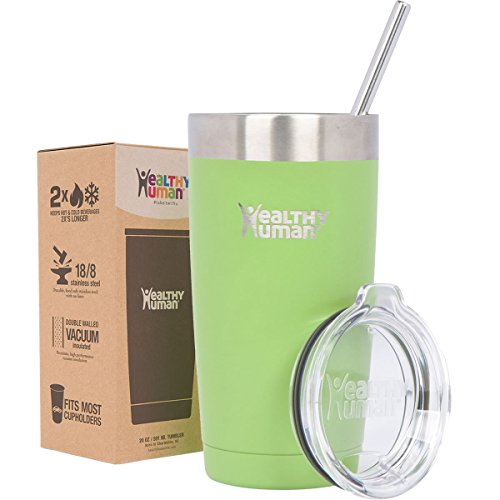 Healthy Human 20 oz Cruiser - Keeps Hot & Cold Beverages 2X's Longer. Insulated Stainless Steel Tumbler Cup with Lid & Straw. Guacamole (Cold Beverage Travel compare prices)