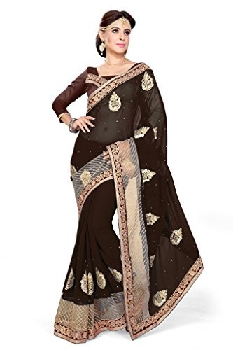 Sourbh Sarees Coffee Faux Georgette And Net Patch Work Saree for Women Party Wear