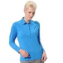 Monterey Club Ladies Dry Swing Honeycomb Texture Pleated Long Sleeve Shirt #2187 (Peacock Blue, Large)