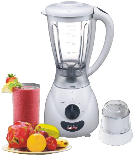Designer Habitat White 1.5 Litre Jug Blender and Multi-Mill