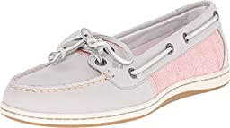 Sperry Top-Sider Women\'s Firefish Cross Hatch Canvas Light Grey/Coral Multi Boat Shoe 7.5 M (B)