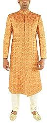 Valentine Men's Silk Sherwani (T09996_42, Orange, 42)
