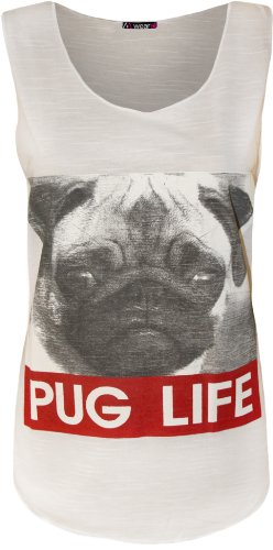 WearAll-donna 'Pug life' Slogan cane carlino senza maniche Vest Top-bianco-40-42