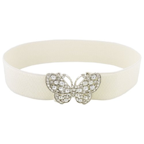 Women Rhinestones Accent Butterfly Hook Buckle Elastic Cinch Waist Belt White