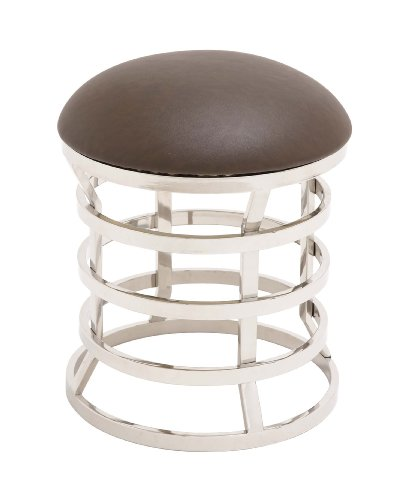 Benzara The Must Have Stainless Steel Real Leather Ottoman, 18.9 by 18.9 by 18.9-Inch, Off-White
