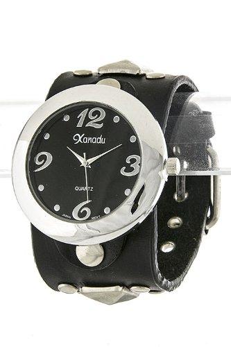 Trendy Fashion Jewelry Stud Leather Wrap Watch By Fashion Destination | (Black)