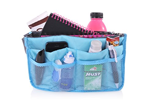 """Q-Bit By Sharkskinzz Purse Insert Organizer And Travel Tote Bag """"Switch From One Bag To Another In Seconds"""" (Blue)"""