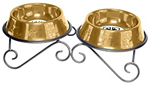 Platinum Pets 3-Cup Scroll Double Diner Stand with Two Bowls, 24 Karat Gold