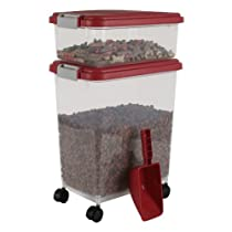 IRIS Airtight Pet Food Container Combo Kit Garnet Red/Gray