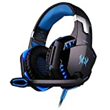 KOTION EACH G2000 Gaming Headset Earphone 3.5mm Jack with LED Backlit Mic Stereo Bass Noise Cancelling PS4 Headset Xbox One Headset for Computer Game Player (Black + Blue) (Color: Blue-G2000)