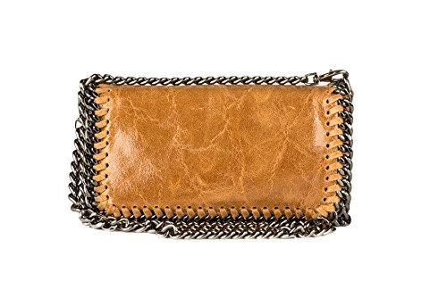 Laura Moretti Handbags - Borsa di mano (baguette) in pelle con catene, tracolla a catena e tasca interna