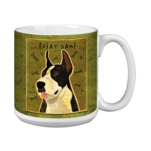 Tree-Free Greetings Xm28066 John W. Golden Artful Jumbo Mug, 20-Ounce, Black And White Great Dane front-324224