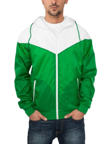 Urban Classics TB148 Giacca Windrunner antivento Arrow Uomo, Verde (Green/wht), S
