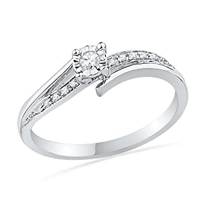 10KT White Gold Round Diamond Bypass Promise Ring (1/10 cttw),size 8