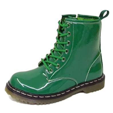 Womens Green Patent Lace Up Zip Bovver Punk Ladies Ankle Military Boots