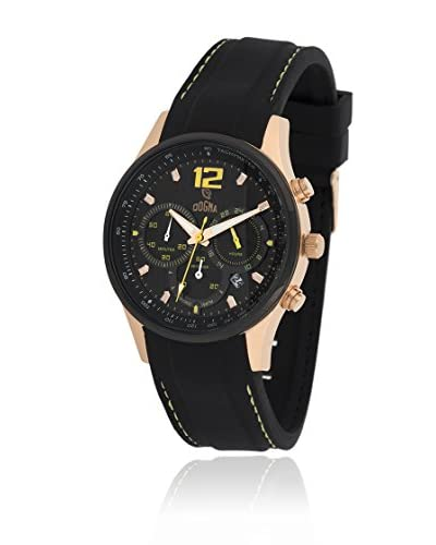 Dogma Reloj con movimiento cuarzo suizo Dgcrono-347Am Negro 45  mm