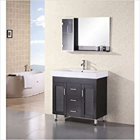 "Miami 36"" Contemporary Design Vanity set with Side Cabinet"