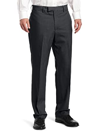 Louis Raphael Men's Luxe Solid-Colored Modern-Fit Flat-Front Dress Pant, Charcoal, 30x30