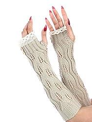 Ginga's Galleria Women's Crochet Button Lace Arm Warmers Fingerless Gloves (Beige)