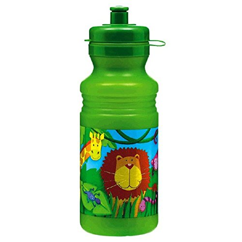 Amscan Colorful Jungle Animals Birthday Party Drink Bottle, 18 oz, Green/Multi - 1