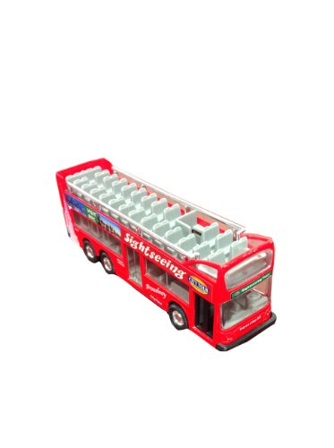 "Die Cast Metal 6"" NYC Sightseeing City Tour Red Double Bus Pull Back Action"
