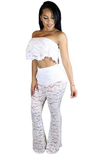 bianco-ruffle-top-in-pizzo-con-gamba-larga-pant-pantaloni-set-tuta-abbigliamento-taglia-m-uk-10-12-e