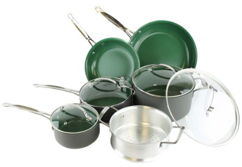 Orgreenic 10-Piece Anodized Non Stick Kitchen Cookware Set Pans Pots