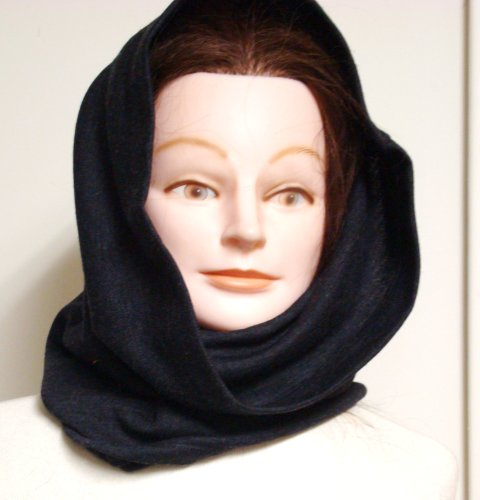 Hand Trimmed Double Knit Navy Wool Jersey Heavy Scarf Balaclava for Winter