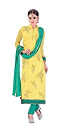 MD Textiles Women Georgette Dress material (Jiya_3008_Yellow_Yellow_Free Size)