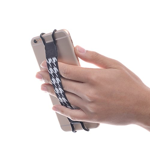 SHC iPhoneやスマートフォン用安全ハンドストラップ - iPhone 5/5(S) - iPhone 6/6S (Plus) - iPhone SE - Samsung Galaxy S4 (i9500) / S5(G900) / S7 / S7 Edge - Galaxy Note 2 / 3 / 4 - Nexus 5 / 6 - HTC Desire / Butterfly / One (Max & Mini) (黒/白)