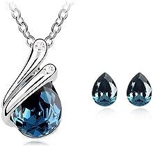 FLORAY Cristal Colgante Collar y Pendiente Juegos de joyas